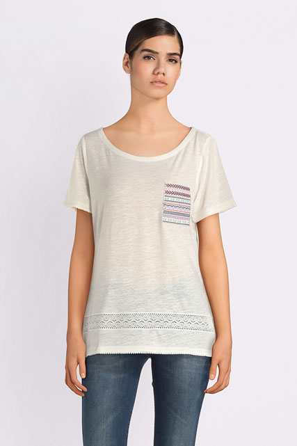 Tee-shirt 40% lin broderies ethniques S OLIVER