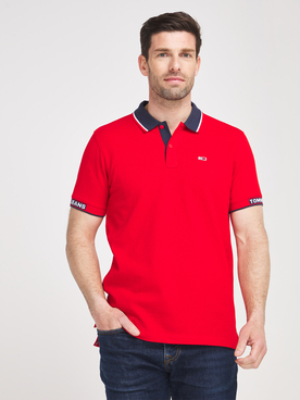 Polo TOMMY JEANS RIB JAQUARD Rouge