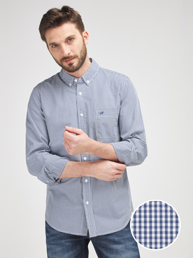 Chemise manches longues MUSTANG GINGHAM CHECK Bleu