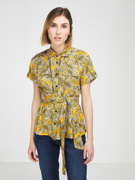 Chemise manches courtes LA FEE MARABOUTEE FA CH MAITE Jaune moutarde