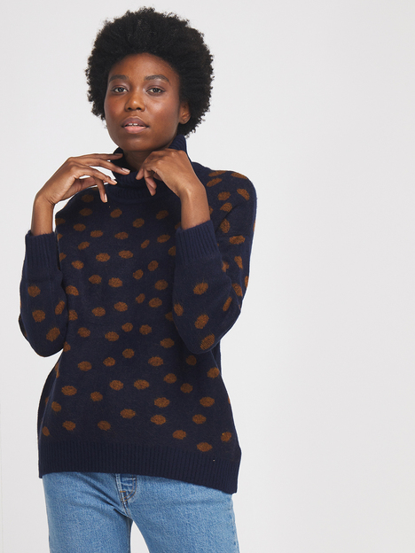 Pull loose moelleux pois jacquard THE KORNER