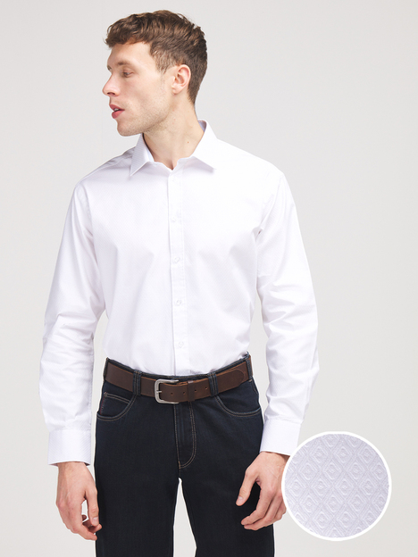 Chemise confort 100% coton jacquard uni CAMBRIDGE LEGEND