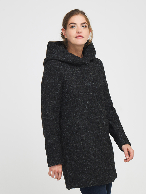 Manteau en lainage chiné avec capuche ONLY