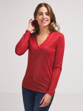 Tee-shirt manches longues ONE STEP FR10081 Rouge
