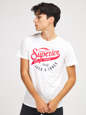 Tee-shirt JACK AND JONES LOGO TEE 3 Ecru