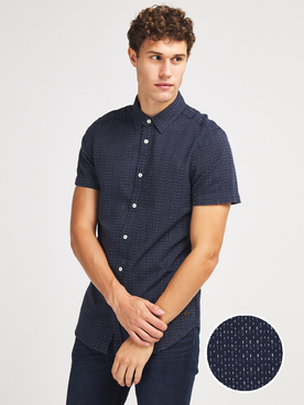 Chemise manches courtes MUSTANG COLLIN DOBBY Bleu marine