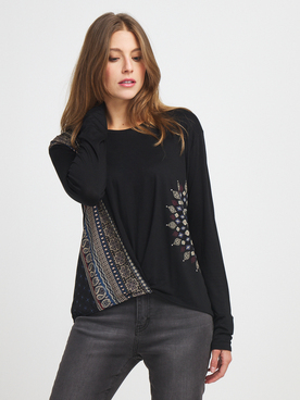 Tee-shirt manches longues DESIGUAL 20WWTKAO Noir