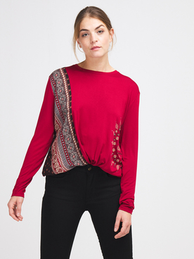 Tee-shirt manches longues DESIGUAL 20WWTKAO Rouge bordeaux