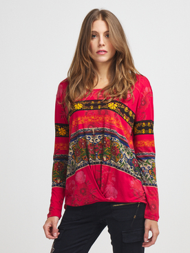 Tee-shirt manches longues DESIGUAL 20WWTK34 Rouge