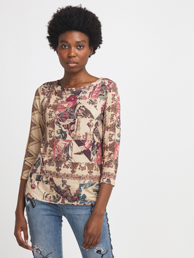 Tee-shirt manches longues DESIGUAL 20WWTKC8 Beige