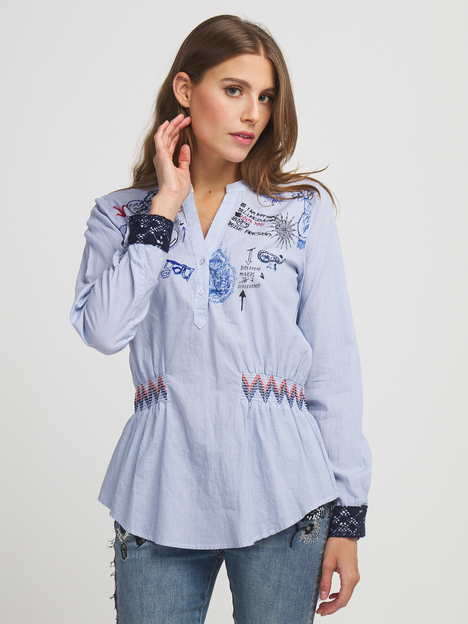 Blouse fines rayures 100% coton DESIGUAL