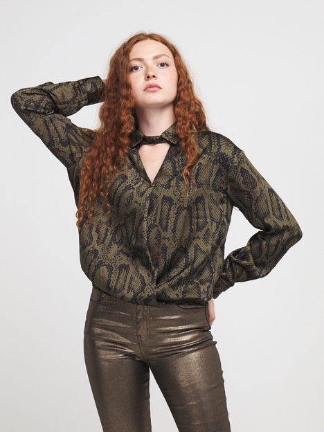 Blouse en satin imprimé python MOLLY BRACKEN