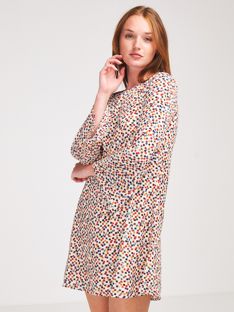 Robe housse en crêpe bubble imprimé MOLLY BRACKEN