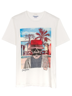 Tee-shirt JACK AND JONES RICKY TEE + Blanc