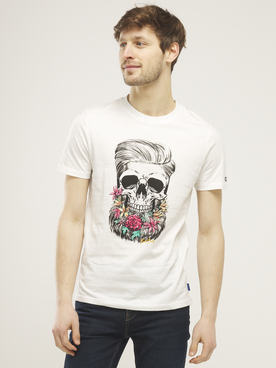 Tee-shirt JACK AND JONES SUNSKULL T Ecru