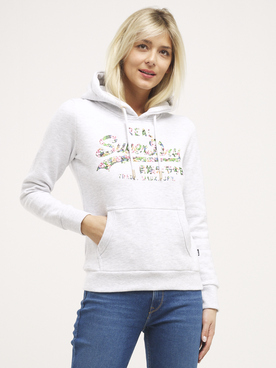 Sweat-shirt SUPERDRY FLORAL HOOD Gris clair