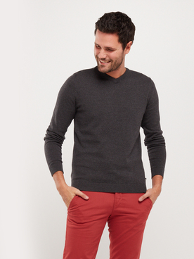 Pull JACK AND JONES BASIC COL V Gris foncé