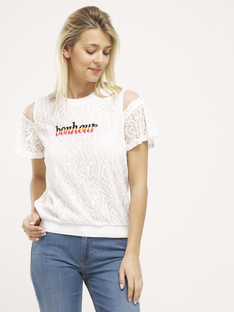 Tee-shirt brodé en dentelle LILI SIDONIO BY MOLLY BRACKEN